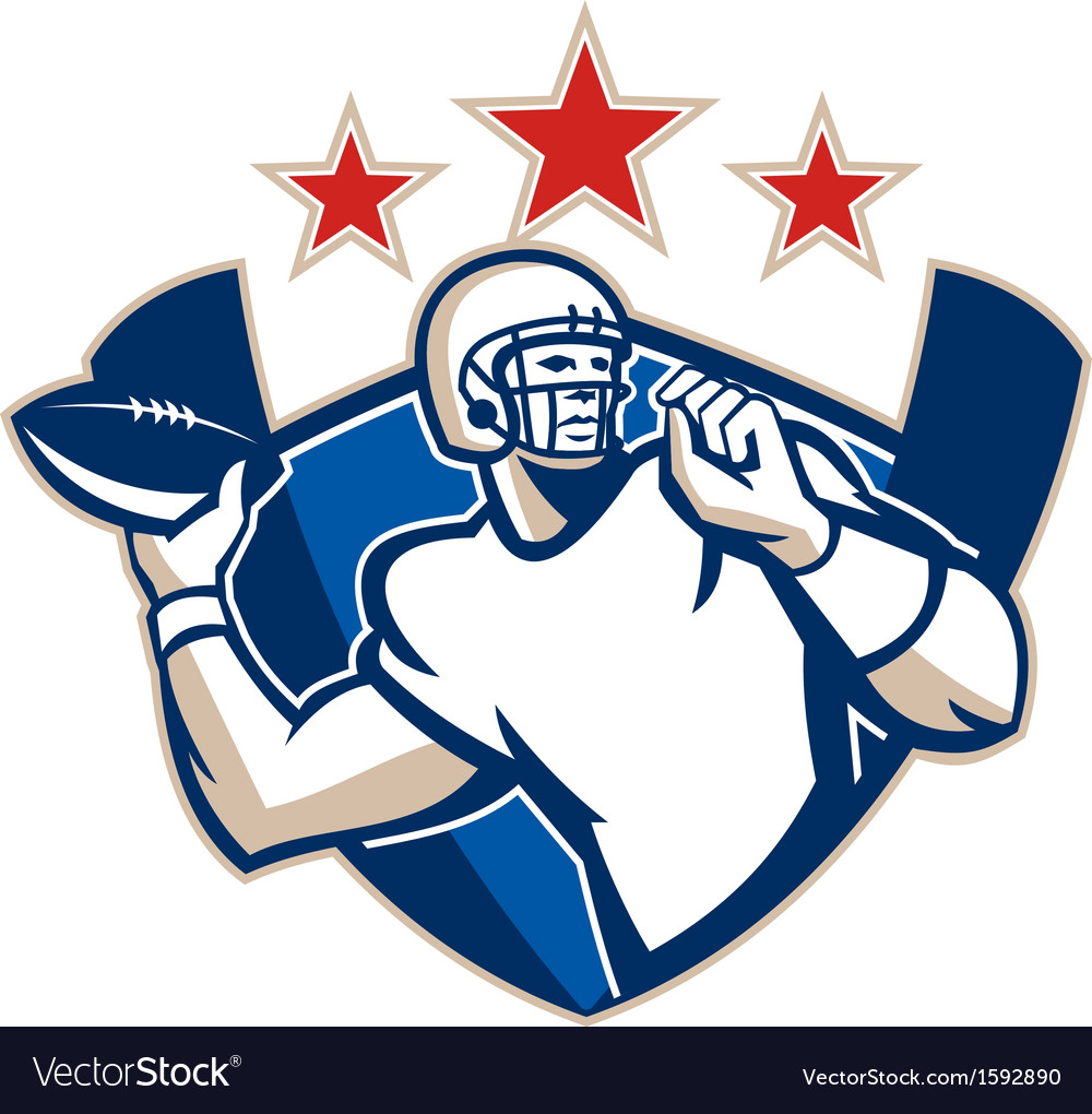 Gridiron football quarterback throw ball vector | Price: 1 Credit (USD $1)