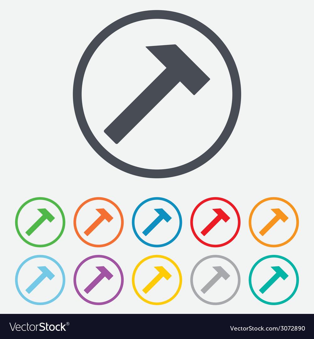 Hammer sign icon repair service symbol vector | Price: 1 Credit (USD $1)