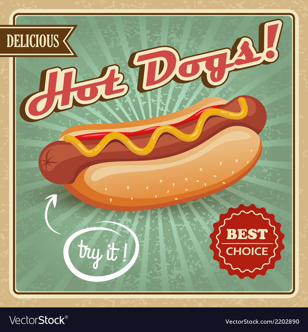 Hot dog poster vector | Price: 3 Credit (USD $3)