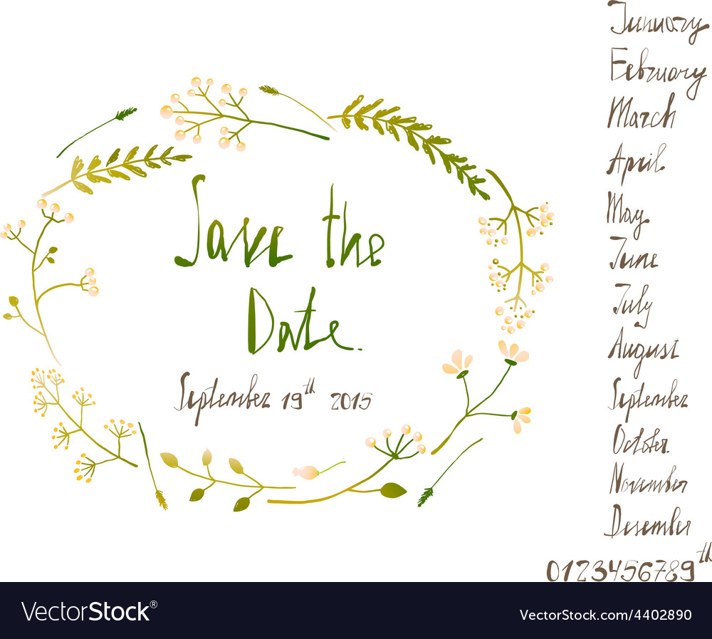 Rustic wreath save the date invitation card with vector | Price: 1 Credit (USD $1)