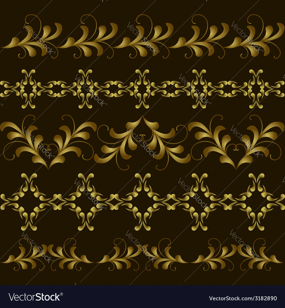 Set gold border vector | Price: 1 Credit (USD $1)