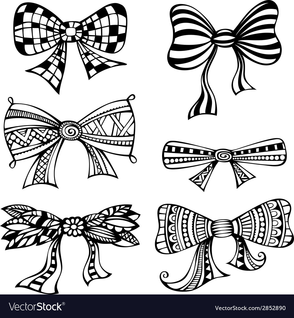 Set of ornate bows vector | Price: 1 Credit (USD $1)
