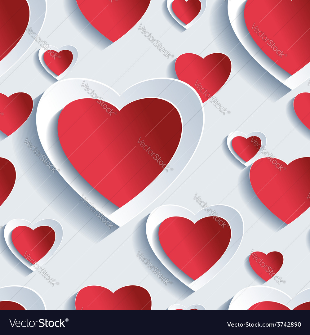 Valentines day seamless pattern 3d hearts vector | Price: 1 Credit (USD $1)