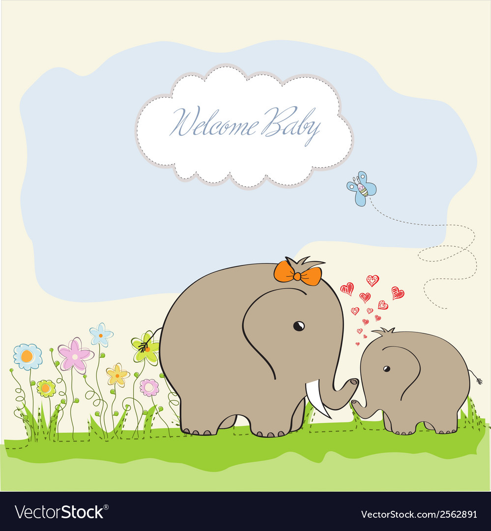 Baby shower card with baby elephant and his mother vector | Price: 1 Credit (USD $1)