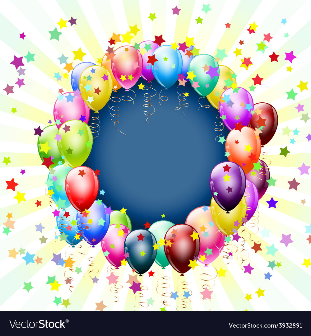 Balloons frame circle vector | Price: 1 Credit (USD $1)
