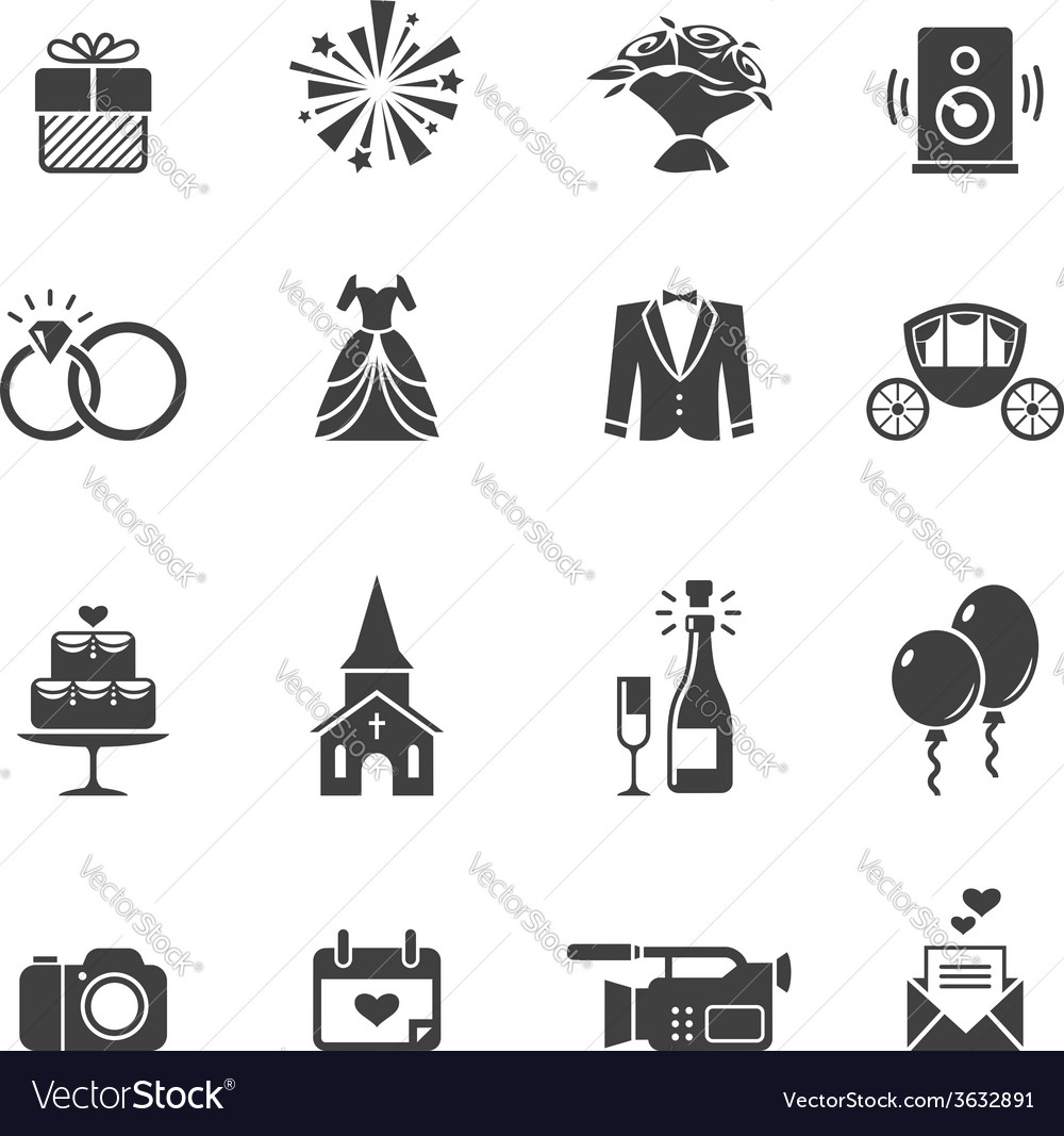 Black wedding icons vector | Price: 1 Credit (USD $1)