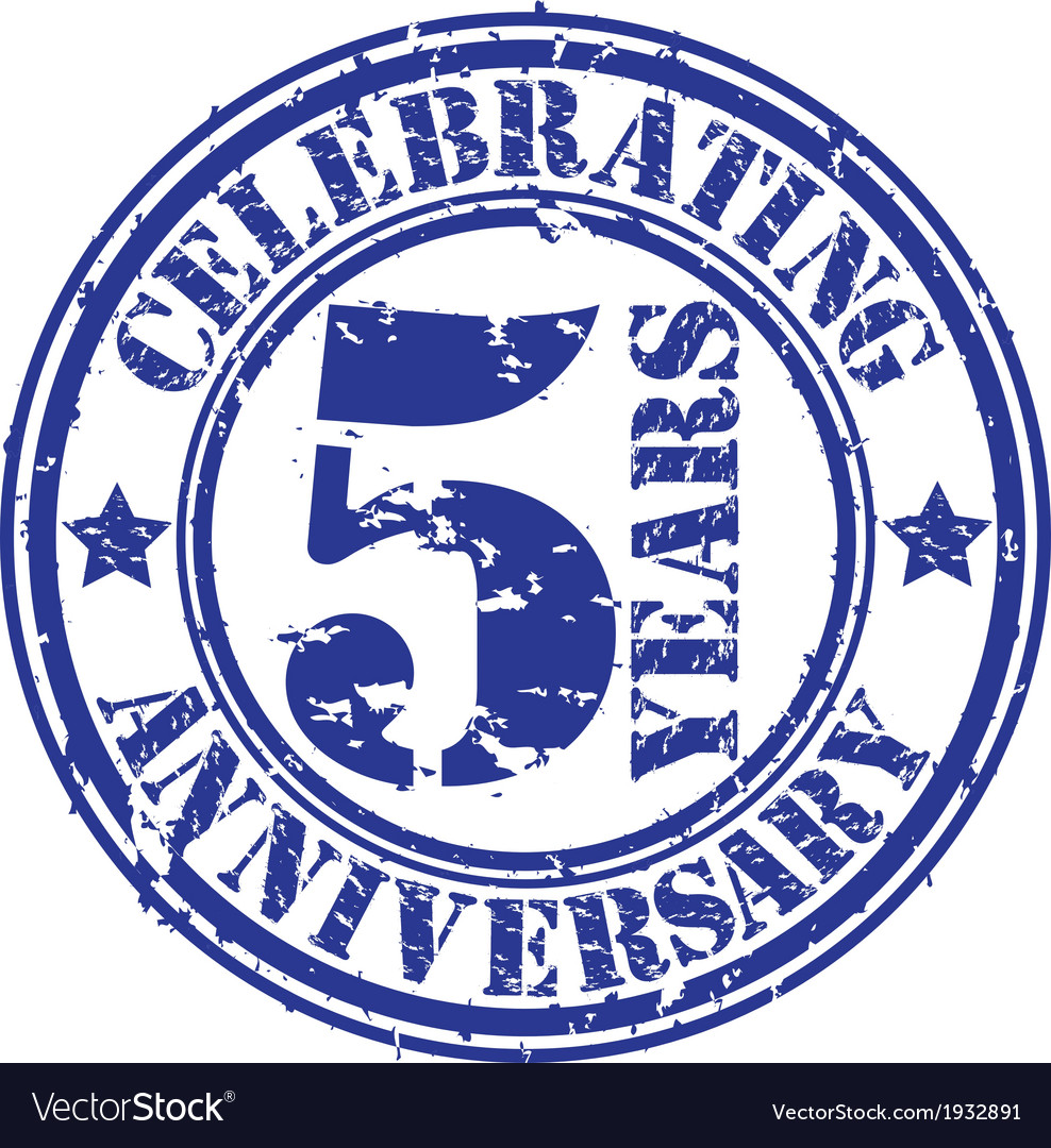 Celebrating 5 years anniversary grunge rubber sta vector | Price: 1 Credit (USD $1)