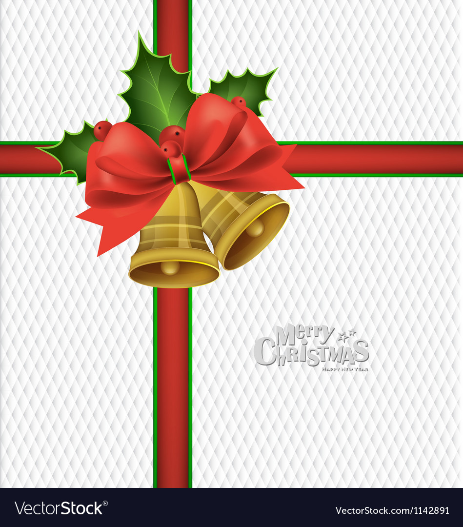 Christmas bells bow background vector | Price: 1 Credit (USD $1)