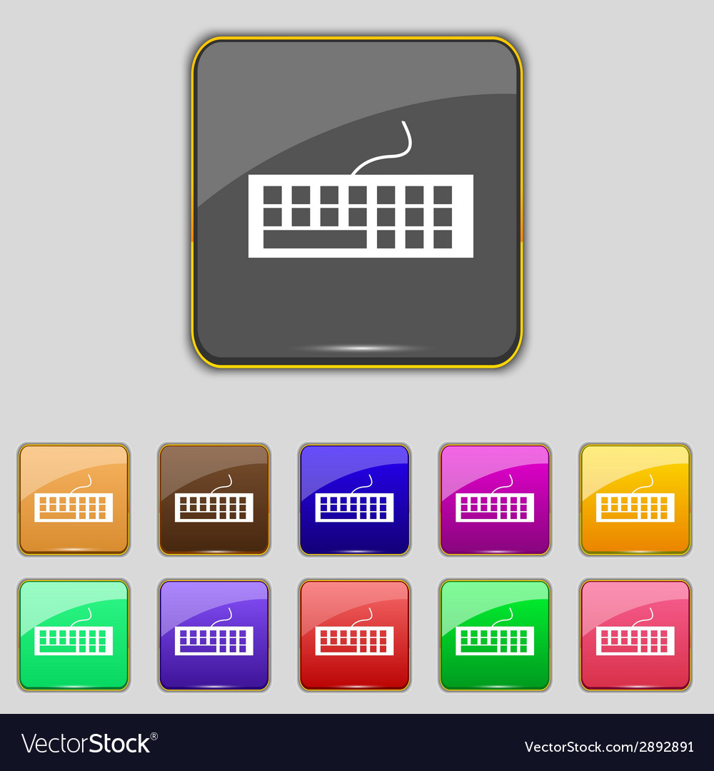 Computer keyboard icon set colourful buttons vector   Price: 1 Credit (USD $1)