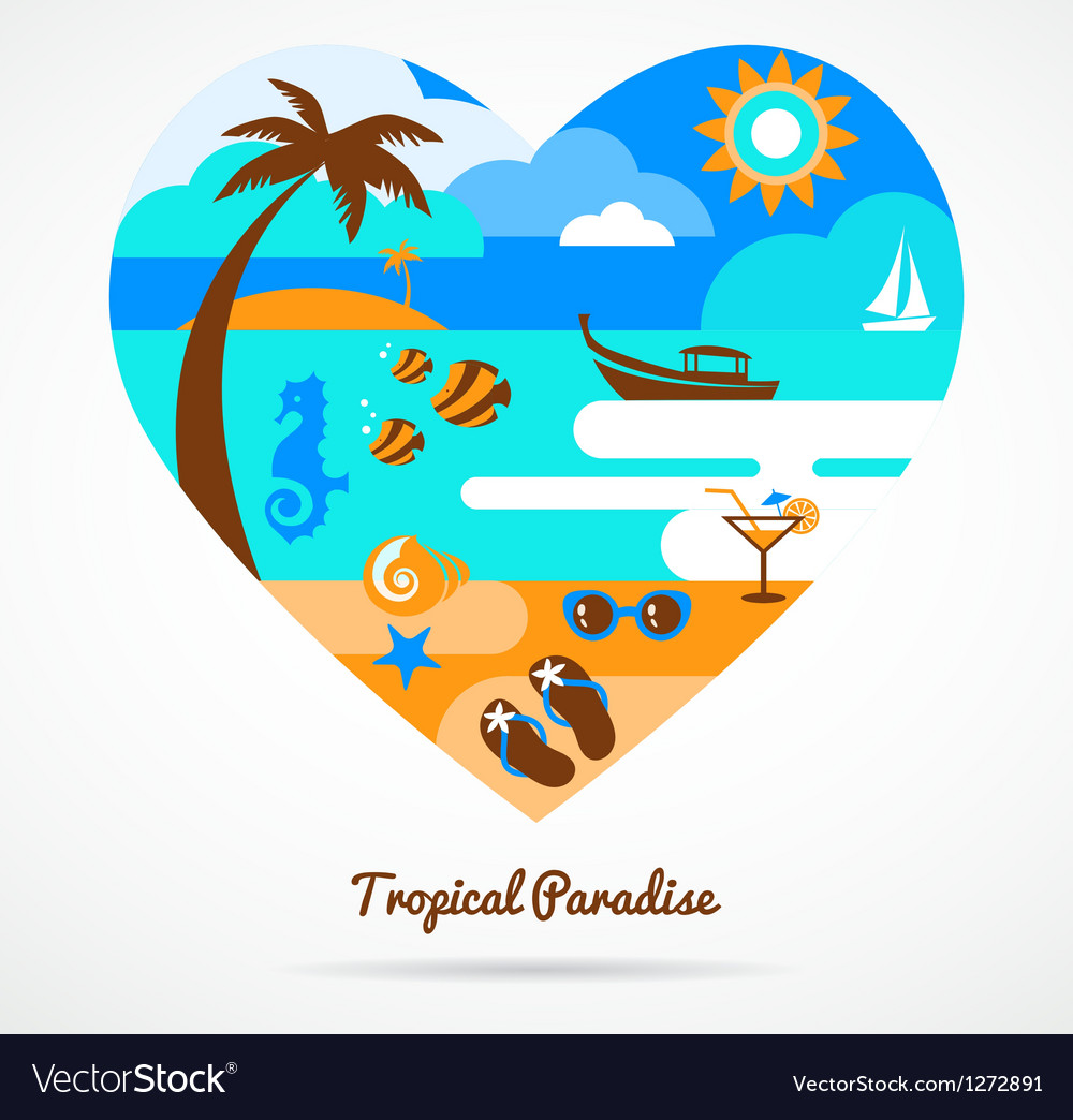 I love tropical paradise vector | Price: 1 Credit (USD $1)