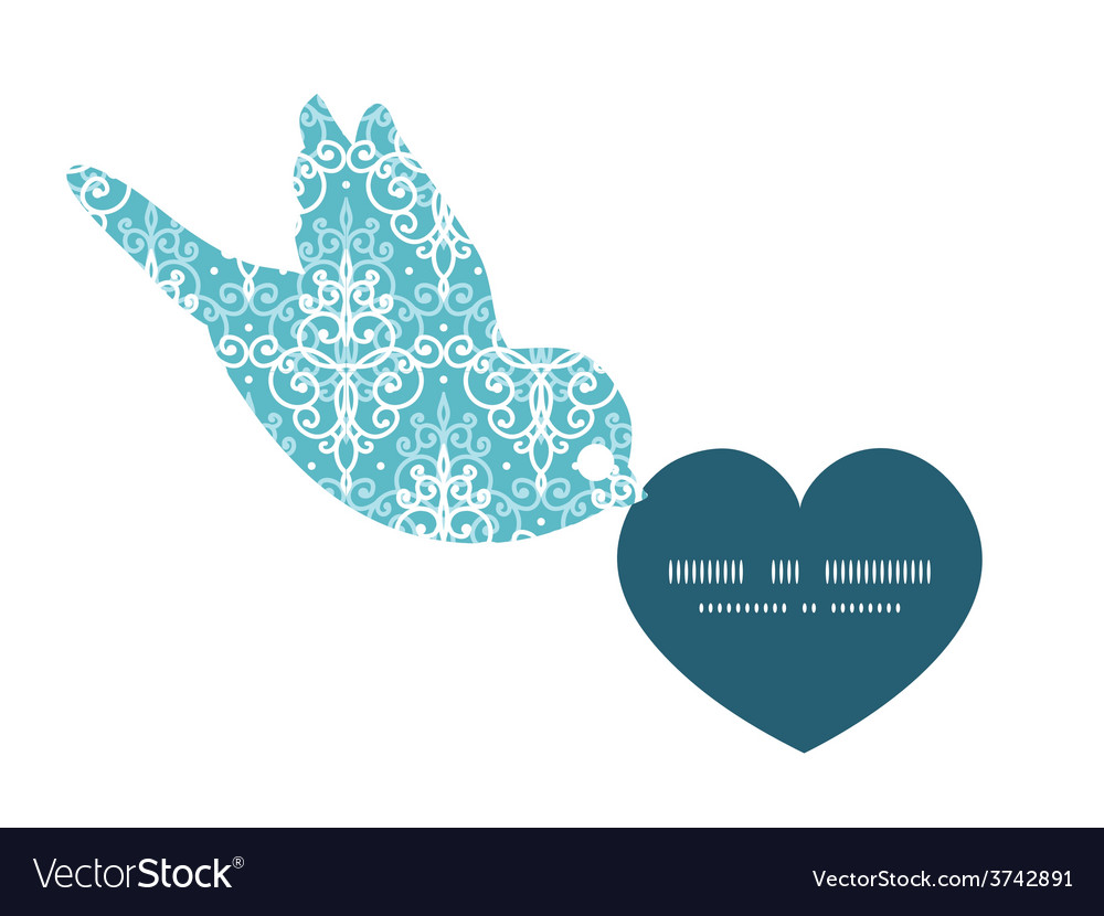 Light blue swirls damask birds holding vector | Price: 1 Credit (USD $1)