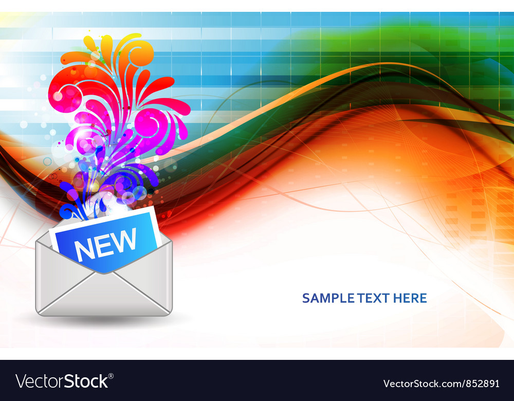 Mail icon with swirls vector | Price: 1 Credit (USD $1)