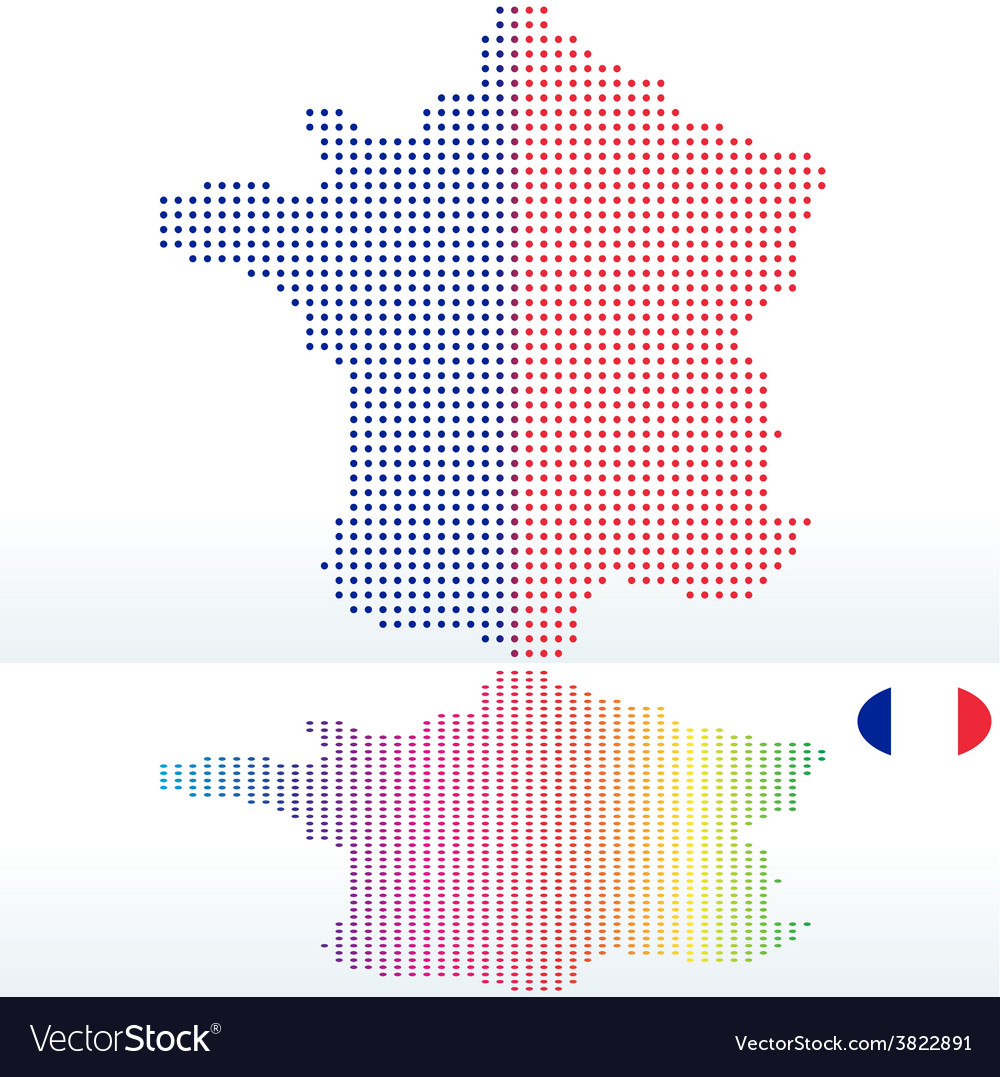 Map of french republic france with with dot vector | Price: 1 Credit (USD $1)