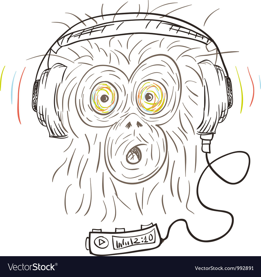 Monkey listens the music vector | Price: 1 Credit (USD $1)