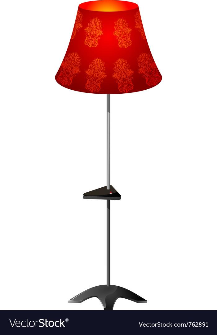 Red floor lamp vector | Price: 1 Credit (USD $1)