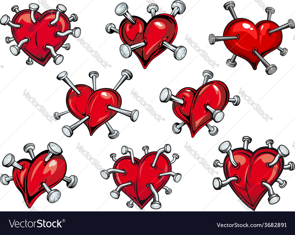 Red hearts pierced by nails vector | Price: 1 Credit (USD $1)