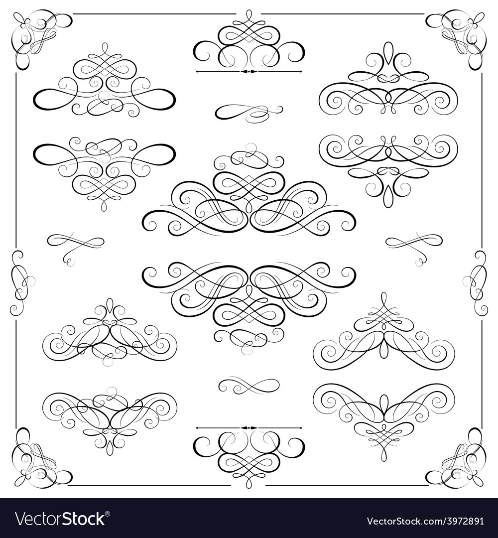 Set - calligraphic design elements vector   Price: 1 Credit (USD $1)