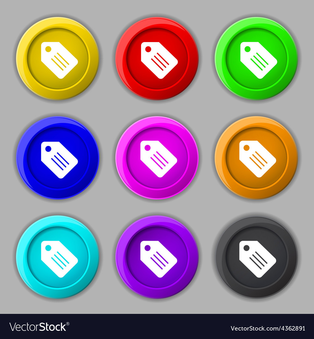 Special offer label icon sign symbol on nine round vector | Price: 1 Credit (USD $1)