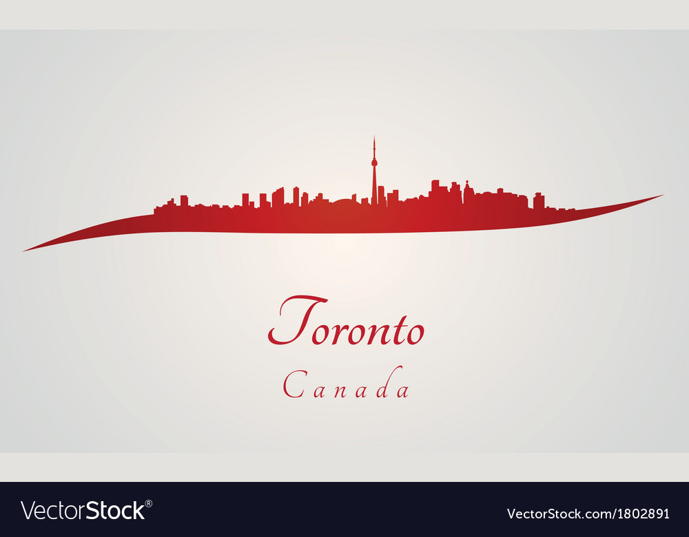 Toronto skyline in red vector | Price: 1 Credit (USD $1)