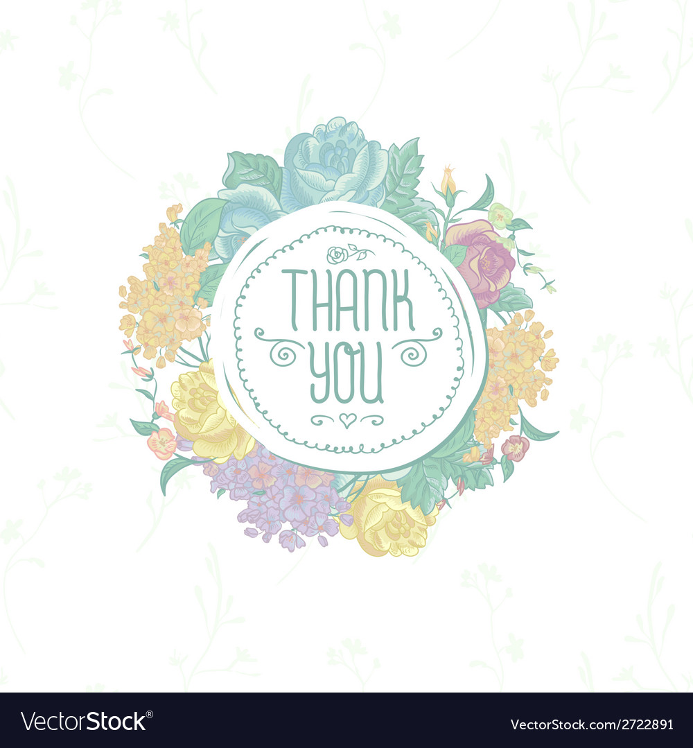 Vintage greeting card with flowers thank you vector | Price: 1 Credit (USD $1)