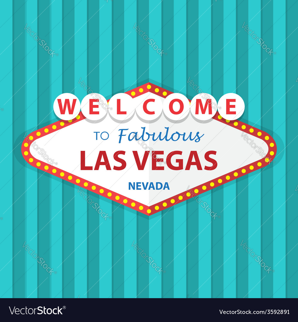 Welcome to fabulous las vegas nevada sign on curta vector