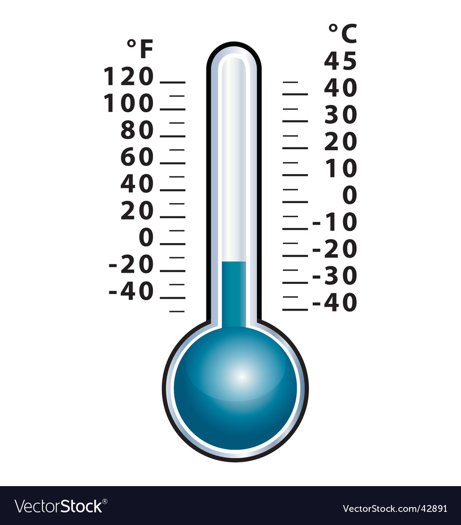 Winter thermometer front view vector | Price: 1 Credit (USD $1)