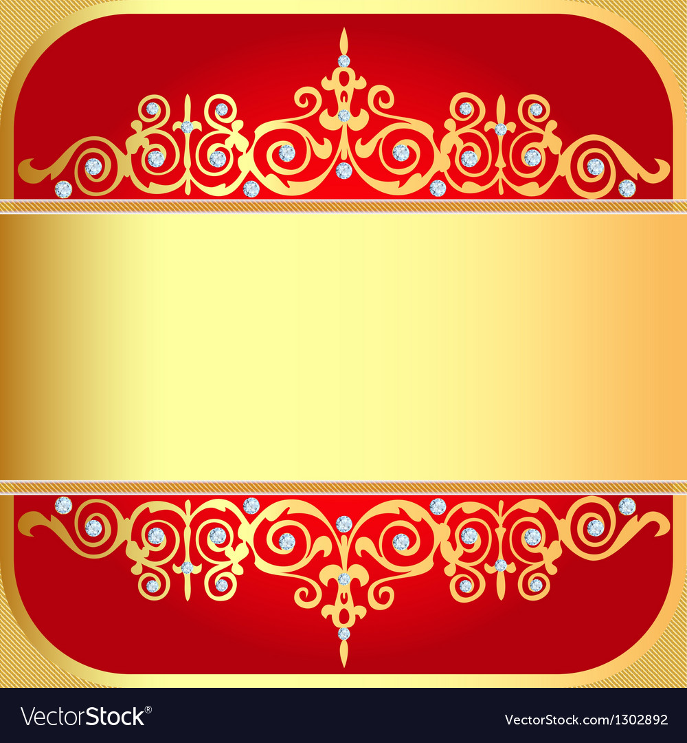 Background with gold ornaments and precious stones vector | Price: 1 Credit (USD $1)
