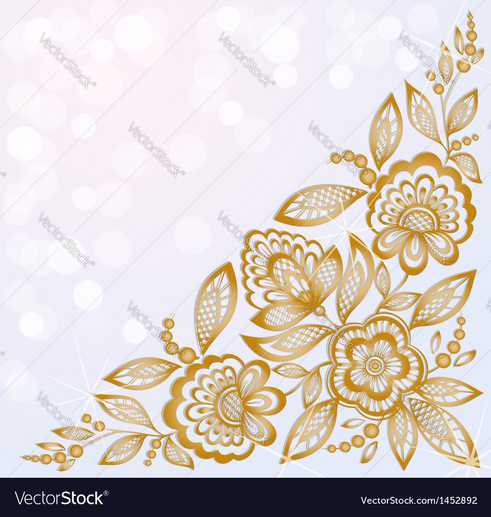 Beautiful carved corner gold flowers vector | Price: 1 Credit (USD $1)
