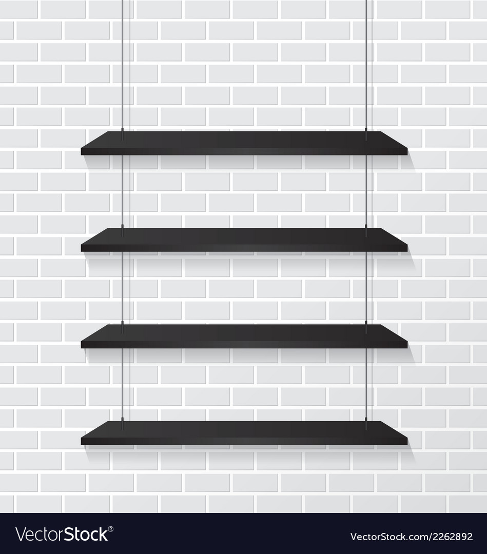 Brick wall and black shelves vector | Price: 1 Credit (USD $1)