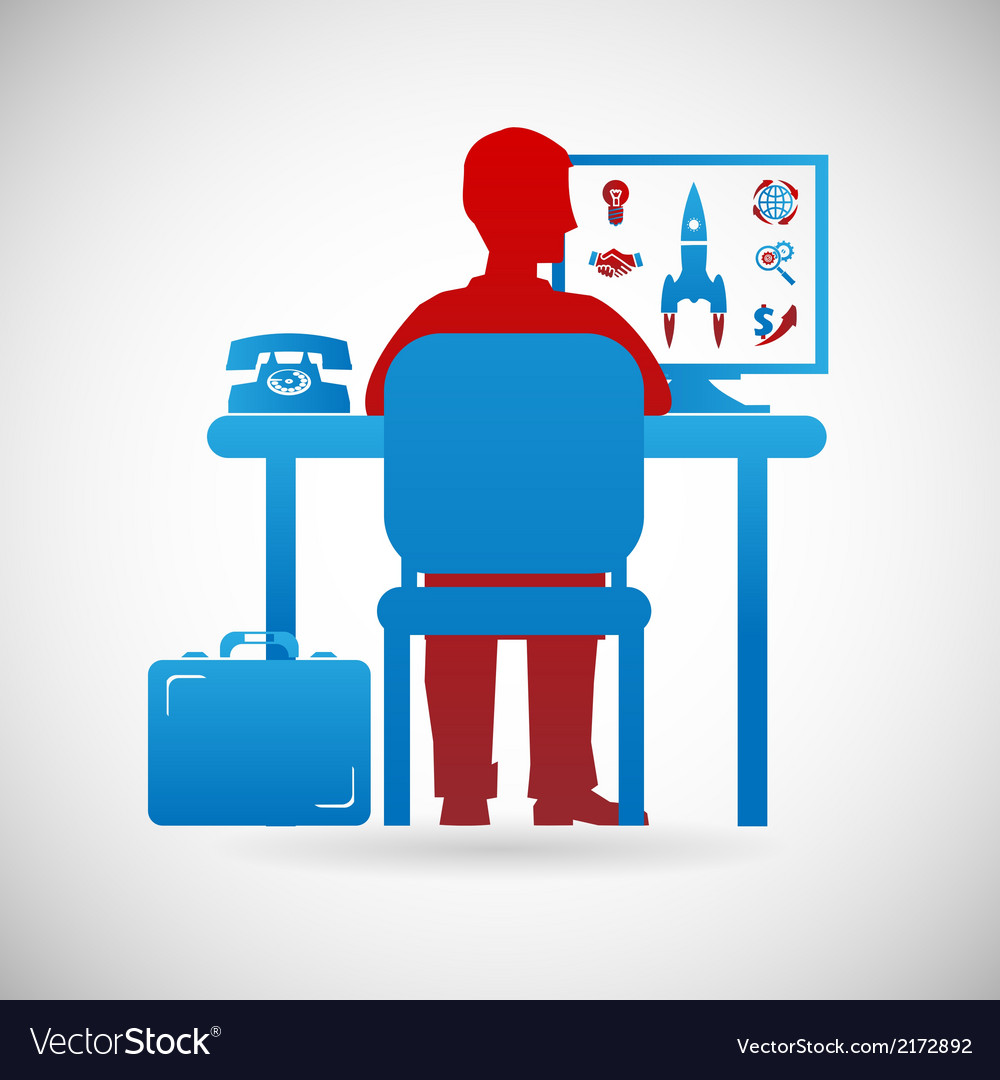 Business workspace symbol businessman at work icon vector | Price: 1 Credit (USD $1)
