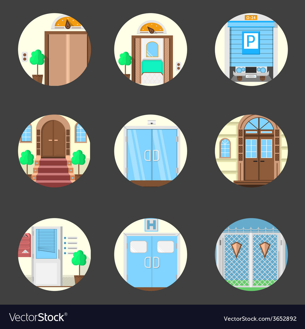 Colored icons collection of entrance doors vector | Price: 1 Credit (USD $1)