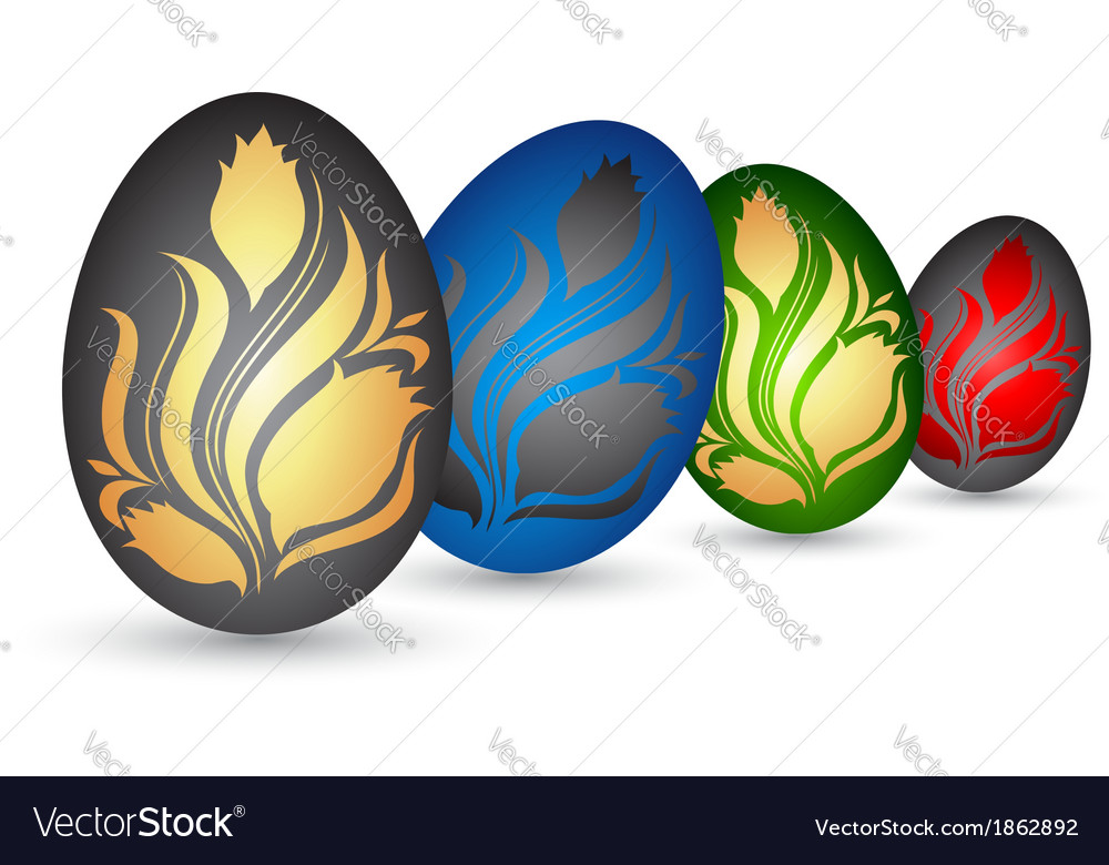 Easter eggs with flowers vector   Price: 1 Credit (USD $1)