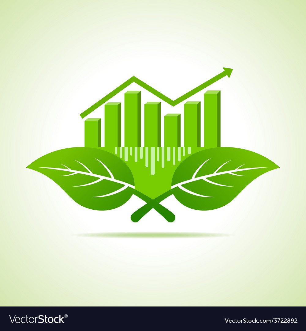 Ecology concept - business graph with leaf vector | Price: 1 Credit (USD $1)