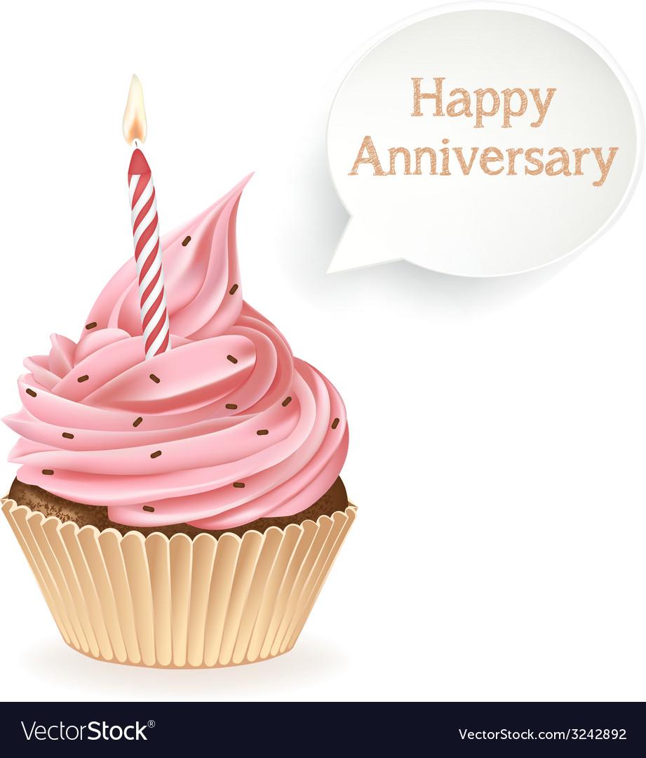 Happy anniversary cupcake vector | Price: 3 Credit (USD $3)