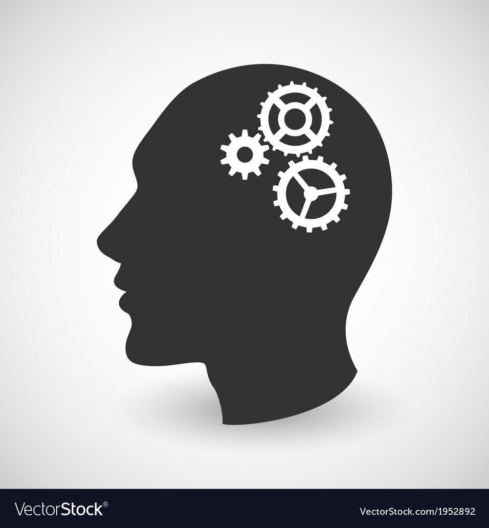 Human head silhouette with set of gears vector | Price: 1 Credit (USD $1)
