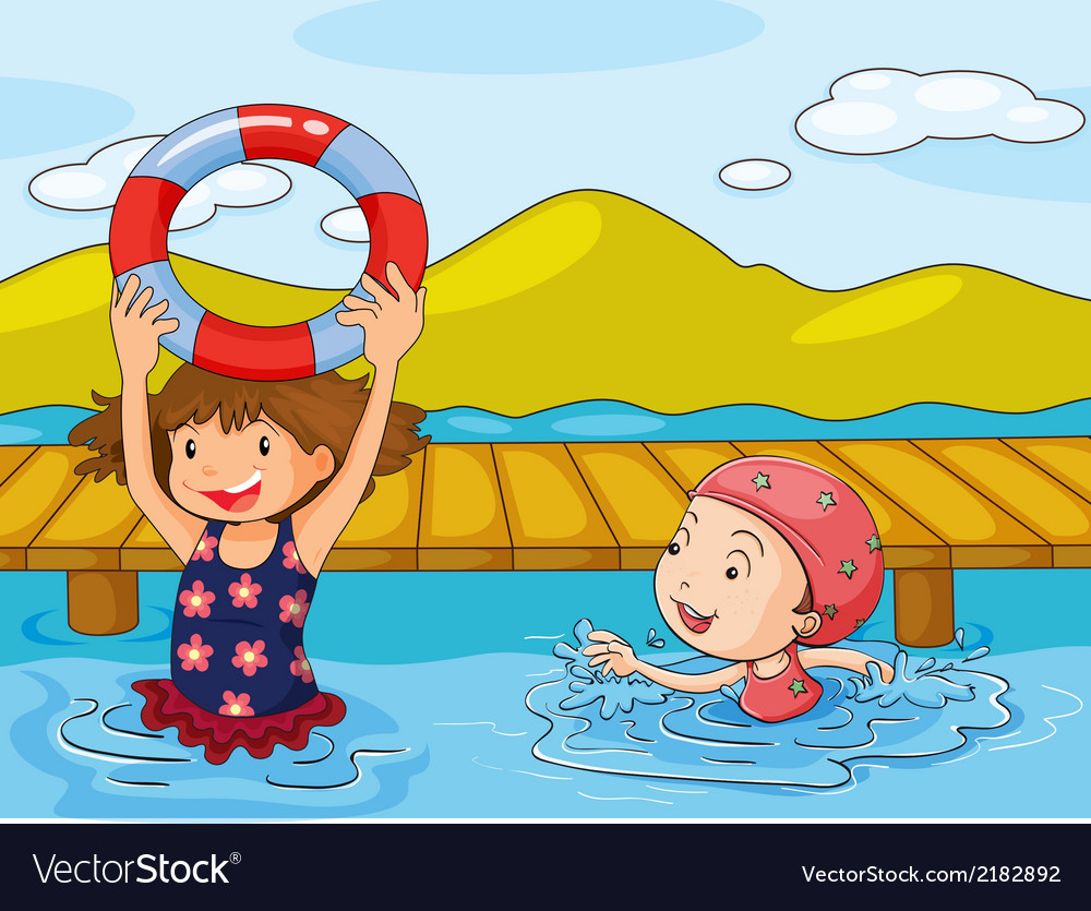 Kids enjoying the refreshing water vector | Price: 1 Credit (USD $1)