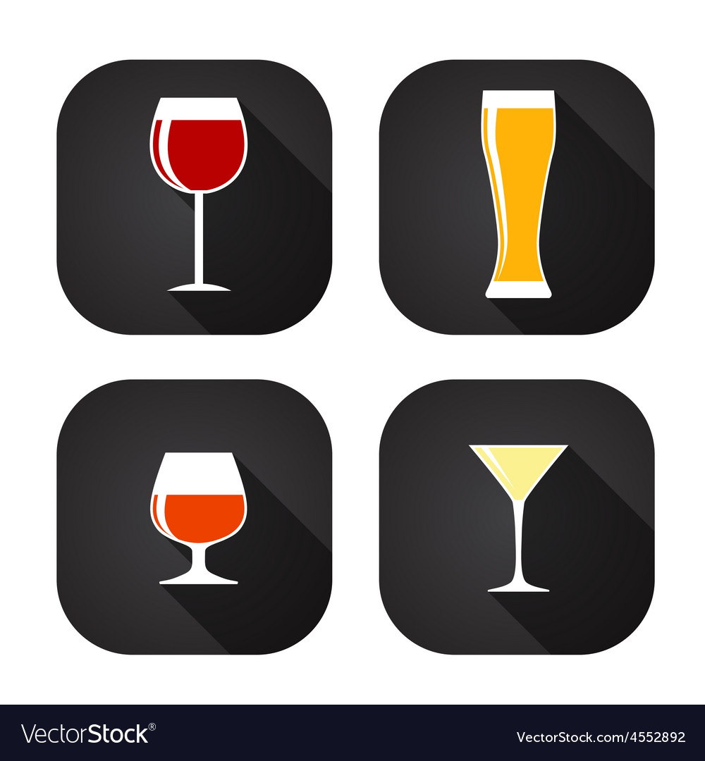 Modern flat dink glass icon set for web and mobile vector | Price: 1 Credit (USD $1)