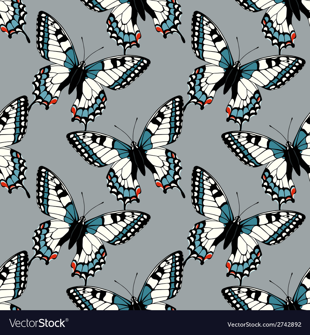 Seamless pattern with machaon swallowtail vector | Price: 1 Credit (USD $1)