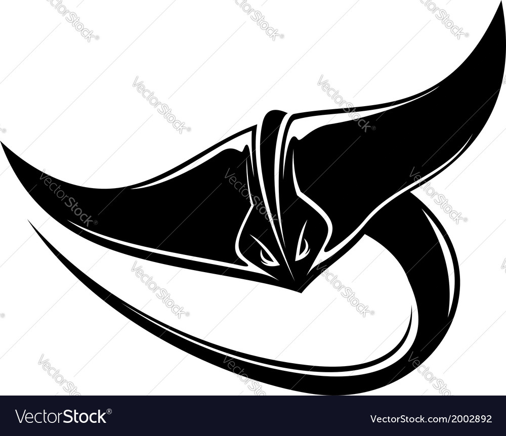 Sting ray or manta ray with a curving tail vector | Price: 1 Credit (USD $1)