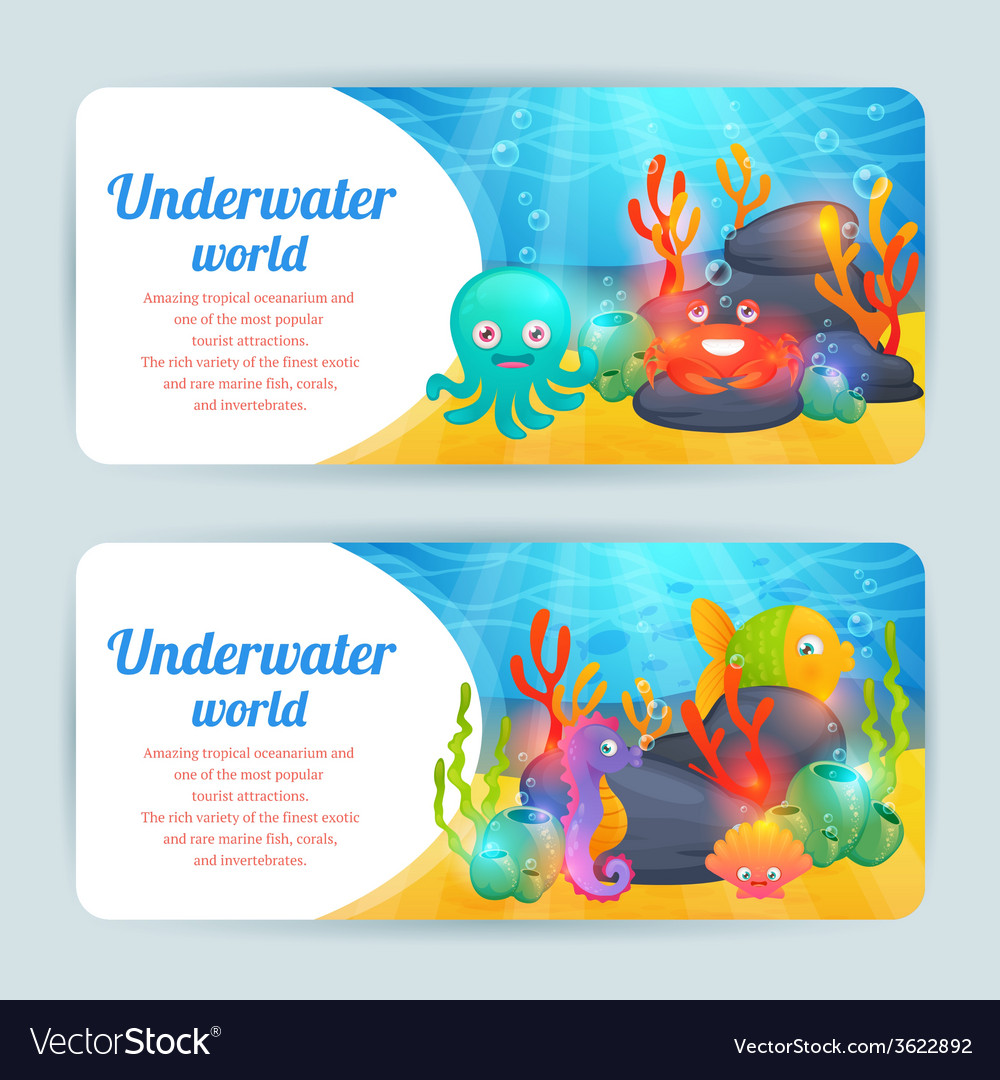 Underwater sea animals horizontal banners set vector | Price: 1 Credit (USD $1)