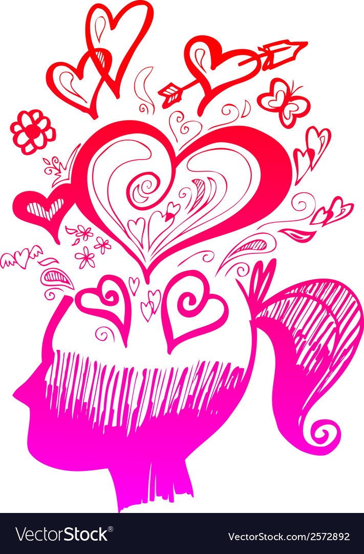 Woman head full of love thoughts vector | Price: 1 Credit (USD $1)