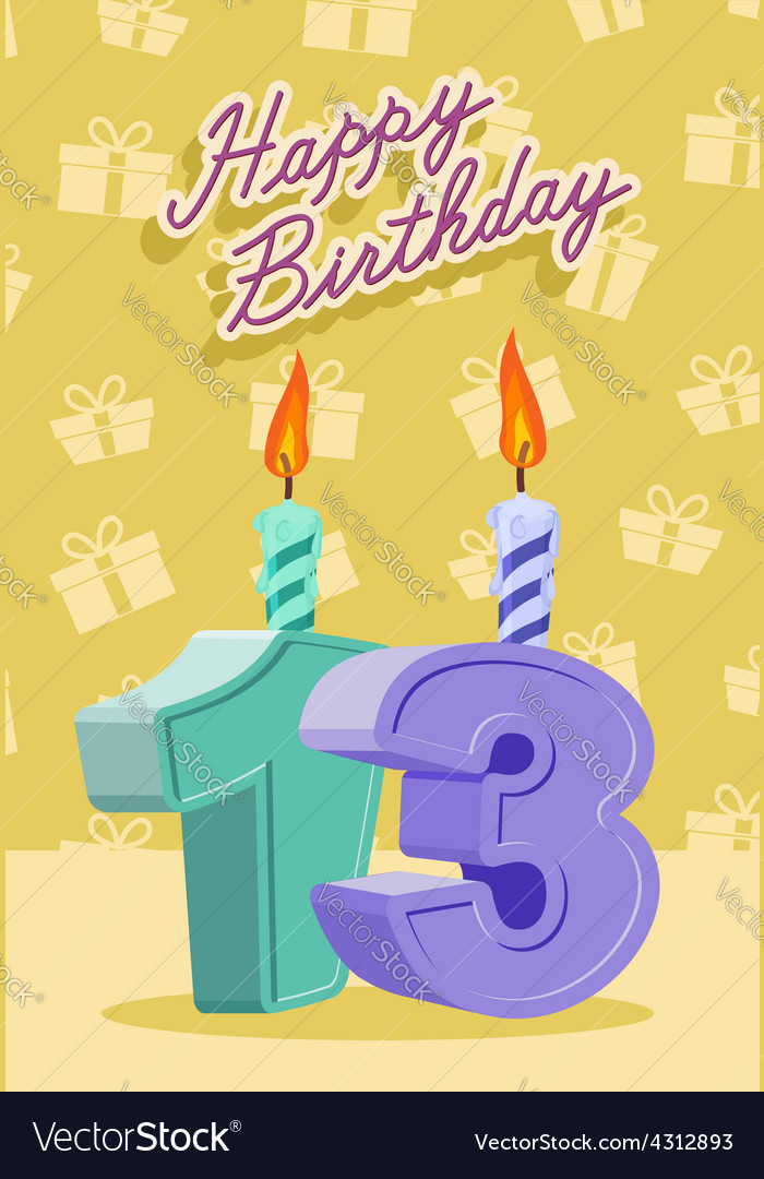 13 year happy birthday card vector | Price: 1 Credit (USD $1)