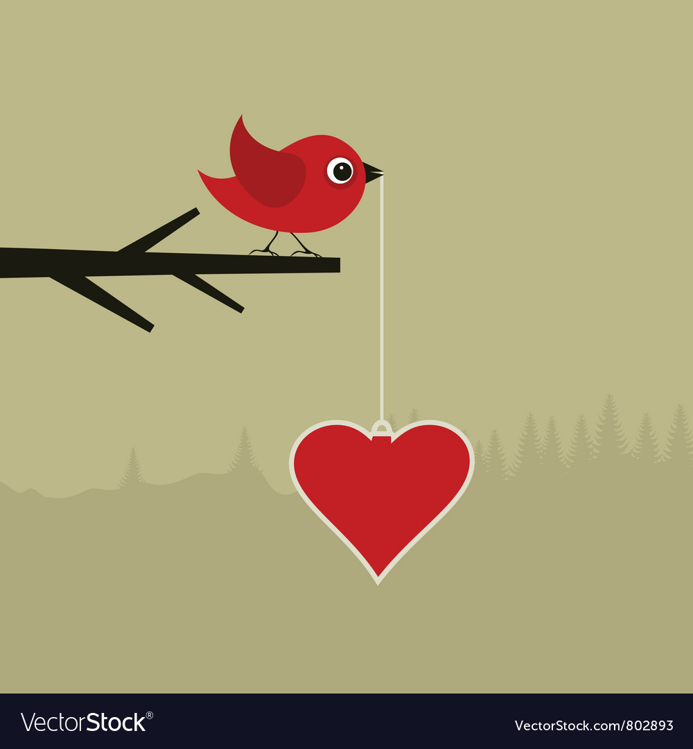 Birdie with heart vector | Price: 1 Credit (USD $1)