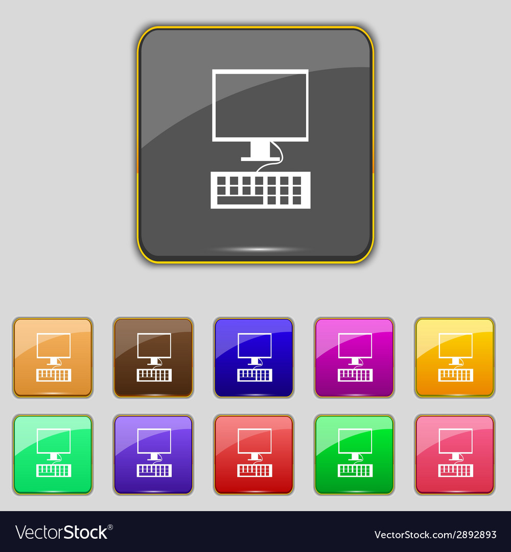 Computer monitor and keyboard icon set colourful vector | Price: 1 Credit (USD $1)