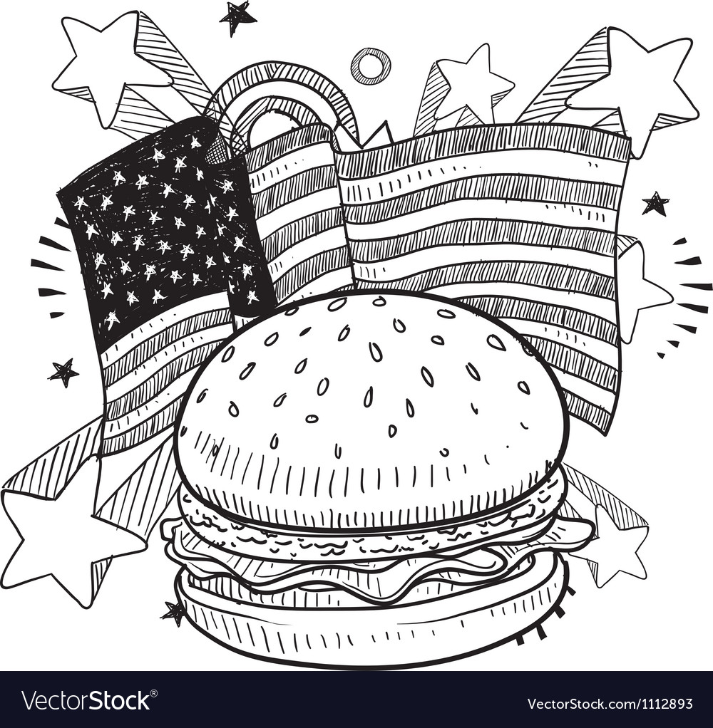 Doodle americana hamburger bw vector | Price: 1 Credit (USD $1)