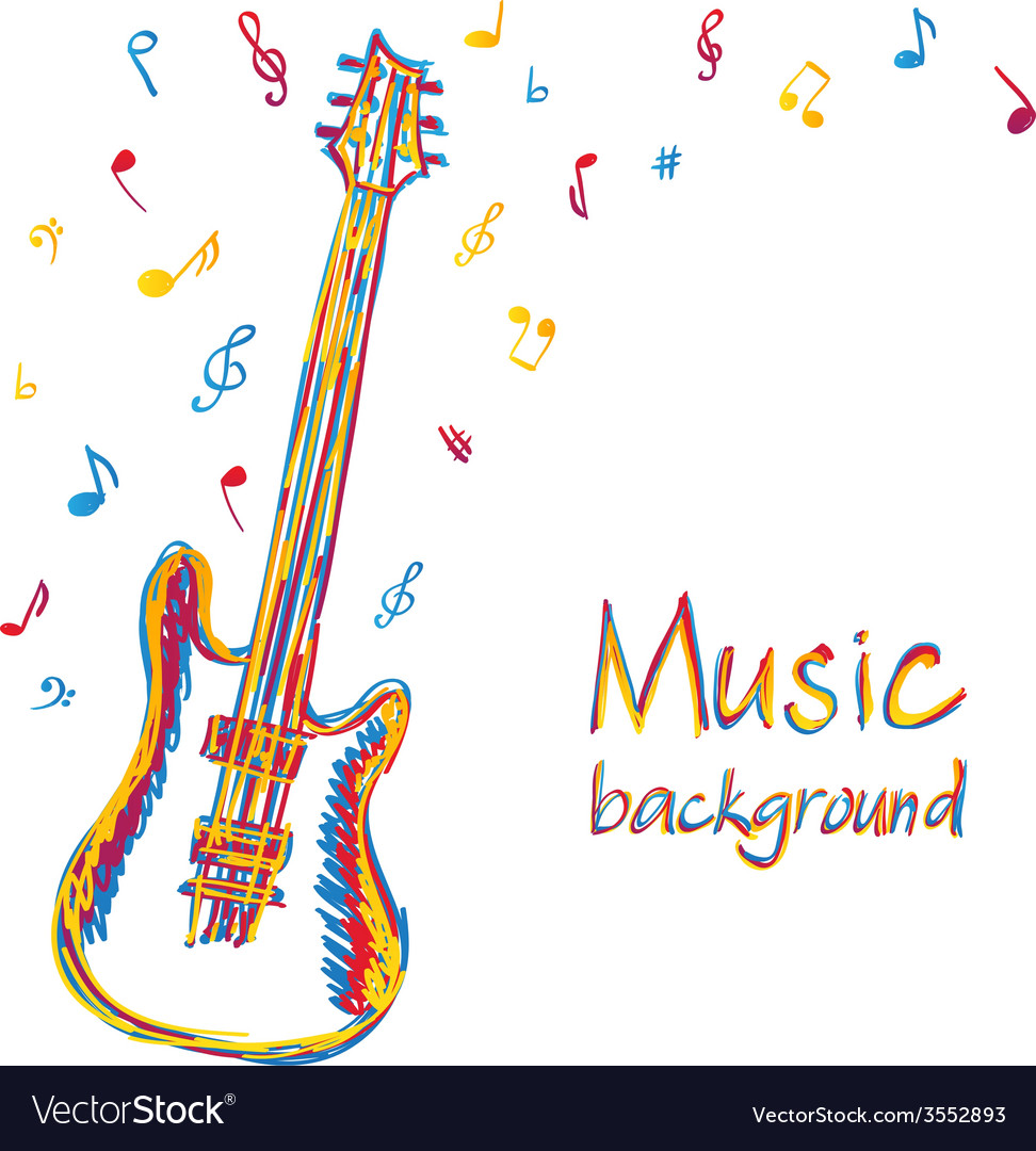 Guitar music background with notes vector | Price: 1 Credit (USD $1)