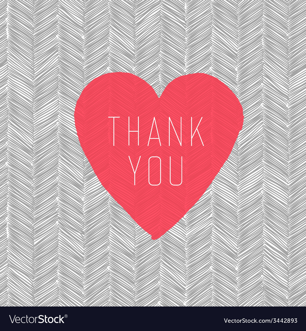 Hand drawn pattern thank you heart symbol vector | Price: 1 Credit (USD $1)