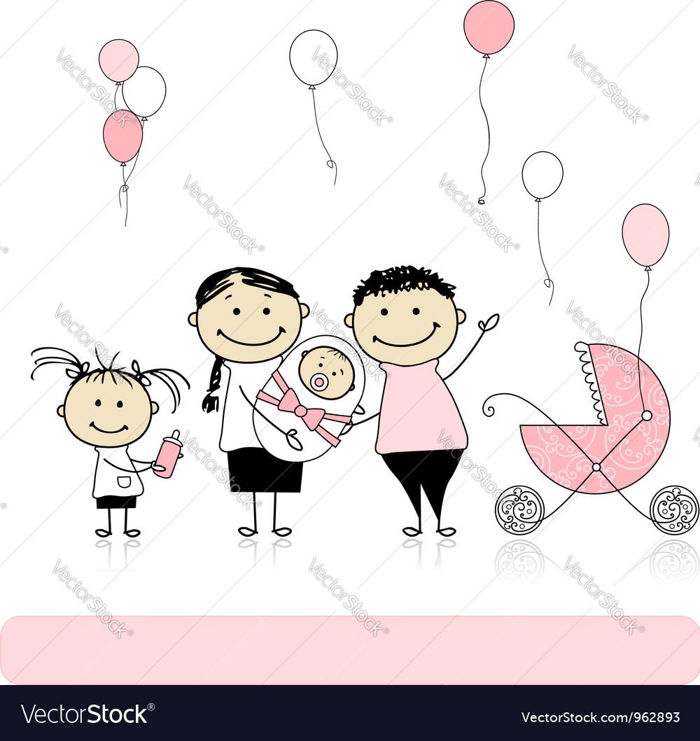 Happy birthday parents with children newborn baby vector | Price: 1 Credit (USD $1)