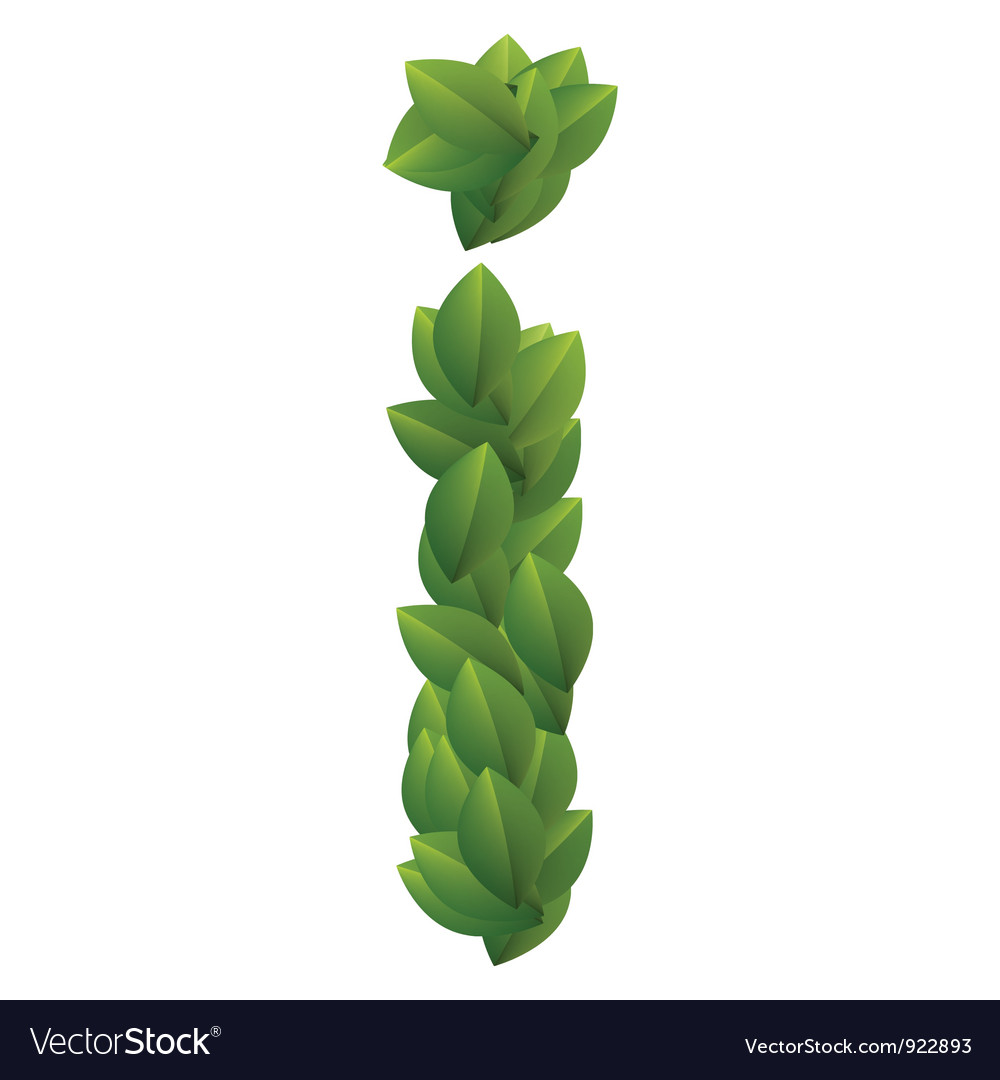 Letter i of green leaves alphabet vector   Price: 1 Credit (USD $1)