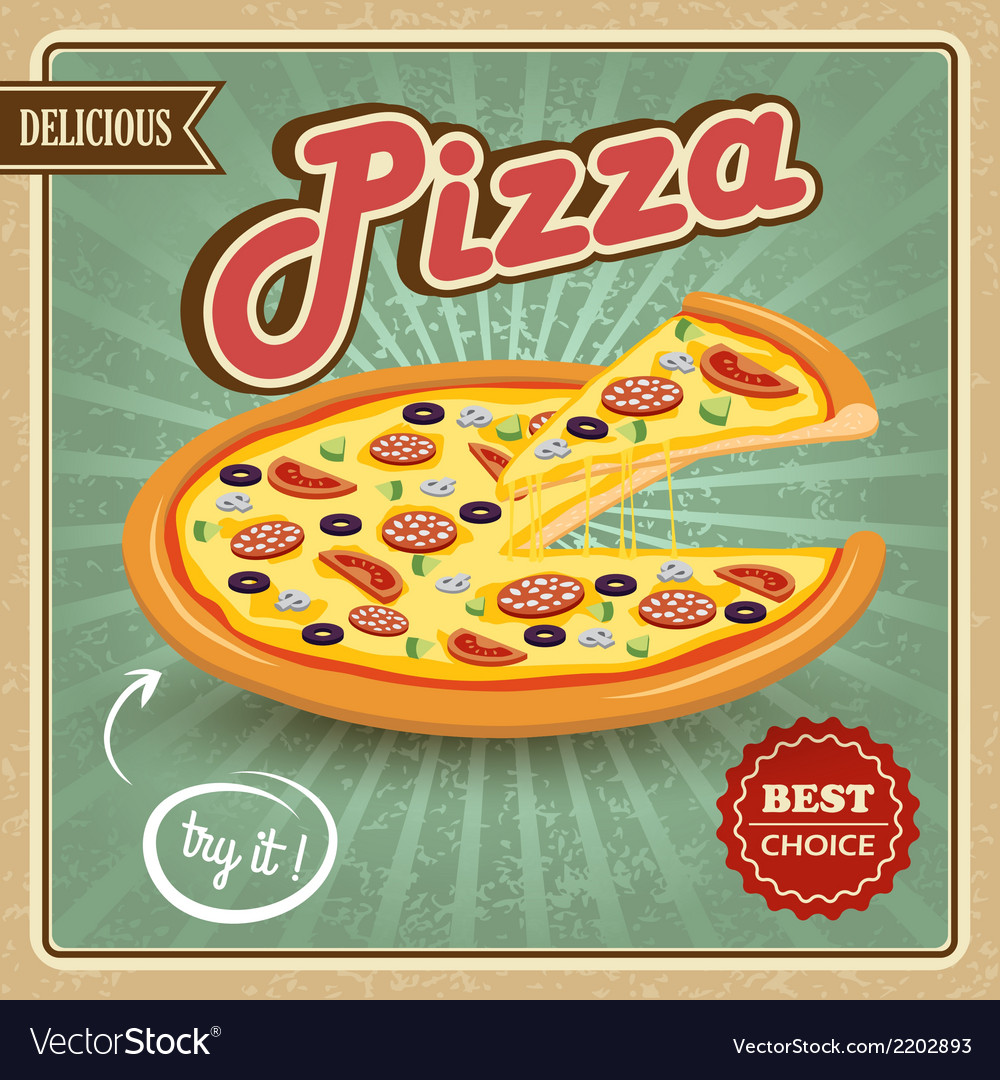 Pizza retro poster vector | Price: 1 Credit (USD $1)